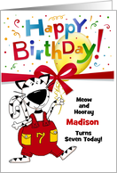 7th Birthday - Boy or Girl - Cute Cartoon Cat - Custom card