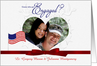 We're Engaged - Military Theme - Embossed Look Photo Card