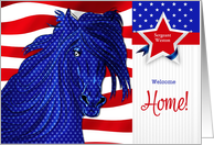 Custom Military Welcome Home - Western Patriotic Horse card