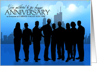 Custom Business Anniversary - Skyline and People Silhouette card
