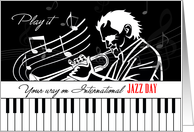 International Jazz Day Piano Keys and Musician with Musical Notes card