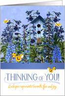 Thinking of You Larkspur Flower Garden with Yellow Canaries card