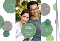 Modern Holiday Hope Joy Love Soft Green Circles with Custom Photo card