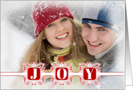 Red and White JOY Elegant Holiday with Family Photo card
