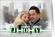Green and White JOY Elegant Holiday with Family Photo card