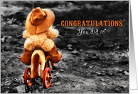 Elementary School Graduation Congratulations Teddy Bear Cowboy card