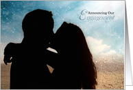 Engagement Announcement Couple Kissing on the Beach card