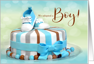 Adoption Announcement for Boy in Blue Polka Dots card