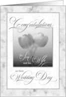 For Son and His Wife Wedding Congratulations Blue Tulips card