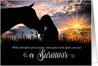 Congratulatons Cancer Survivor Horse and Fog card