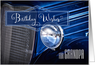 For Grandfather on His Bithday Classic Car Steering Wheel card