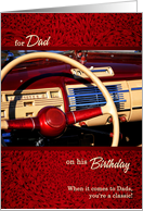 For Dad on His Birthday Classic Car Steering Wheel card