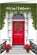 from Our New Address - Merry Christmas Door with a Wreath card