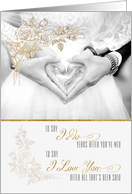 Vow Renewal Congratulations Rose Tinted Bride & Groom card