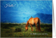 Ich vermisse dich German Thinking of You - Horse in a Pasture card