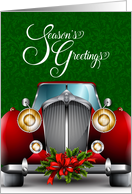 Automotive Business - Red Classic Car - Season's Greetings card