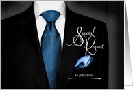 Best Man Wedding Attendant Special Request in Black and Blue card
