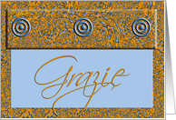 Grazie Thank You Italian Language Card Elegant Gold and Blue Paisley card