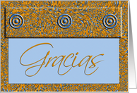 Gracias Thank You Spanish Language Card Elegant Gold and Blue Paisley card