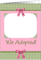 Adoption Little Girl Announcement with Baby Elephant in Pink and Green card