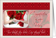 Congratulations Lesbian Couple on Your Civil Union with Red Roses and Rings card