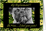 Hip Replacement Surgery Get Well Card with Funny Pug Dog card