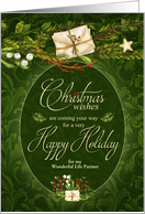 for Life Partner - Custom Christmas - Vintage Tree Pattern card
