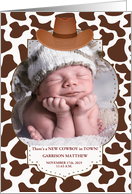 Western Theme - Little Cowboy - New Baby Announcement card