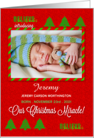 Christmas Birth Announcement Baby Photo with Red and Green card