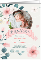 Pink Baptism Invitation for Baby Girl Photo Card