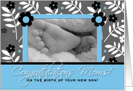 Congratulations Lesbian Moms on the Birth of a Son in Blue and Black card