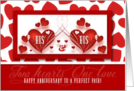 His and His Wedding Anniversary Two Red Hearts card