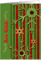 Italian Language Christmas Card Buon Natale - Red and Green card