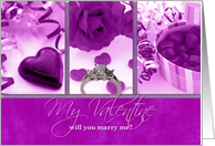 Will You Marry Me My Valentine? Engagement Ring with Purple Hearts card