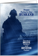 For Military Husband on Father's Day Stars and Stripes Soldier card