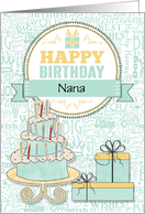 Custom Nana Birthday Wishes - Mint Green and Yellow card