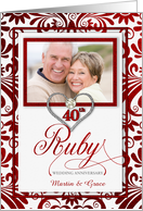 40th Ruby Wedding Anniversary Photo Card Invitation card