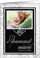 60th Diamond Wedding Anniversary Faux Silver Leaf - Custom card