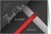 Thank You for the Interview - Custom Business Red and Black card