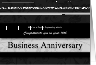 15th Business Anniversary Congratulations Black and Silver card