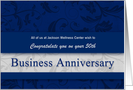 50th Business Anniversary Congratulations Blue and Silver Custom card