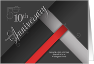 10th Business Anniversary Congratulations Red and Black Custom card