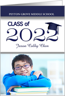 Middle School Graduation - Blue and White Class of 2017 Photo card