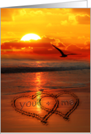 You + Me Written in the Sand on the Beach Sunset with Seagull card