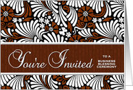 Business Blessing Ceremony Invitation Brown and White card
