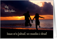 Happy Birthday Fraternal Twin Brother Beach Sunset card