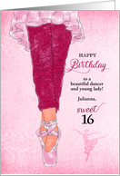 Sweet 16 Birthday Ballerina in Pink with Custom Name card