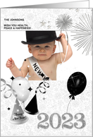 Happy New Year 2015 Silver and Black | Custom Photo Card