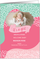 Pink and Brown Polka Dot Birth Announcement Photo Card