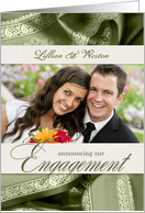 Engagement Announcement Photo Card in Sage Green & Cream card
